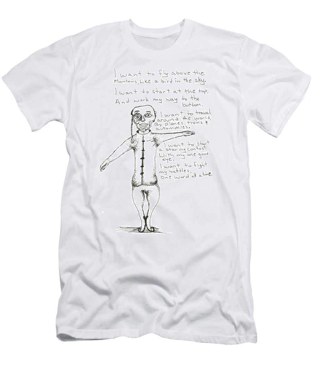 Drawing Men's T-Shirt (Athletic Fit) featuring the drawing I Want To Fly by Michael Mooney