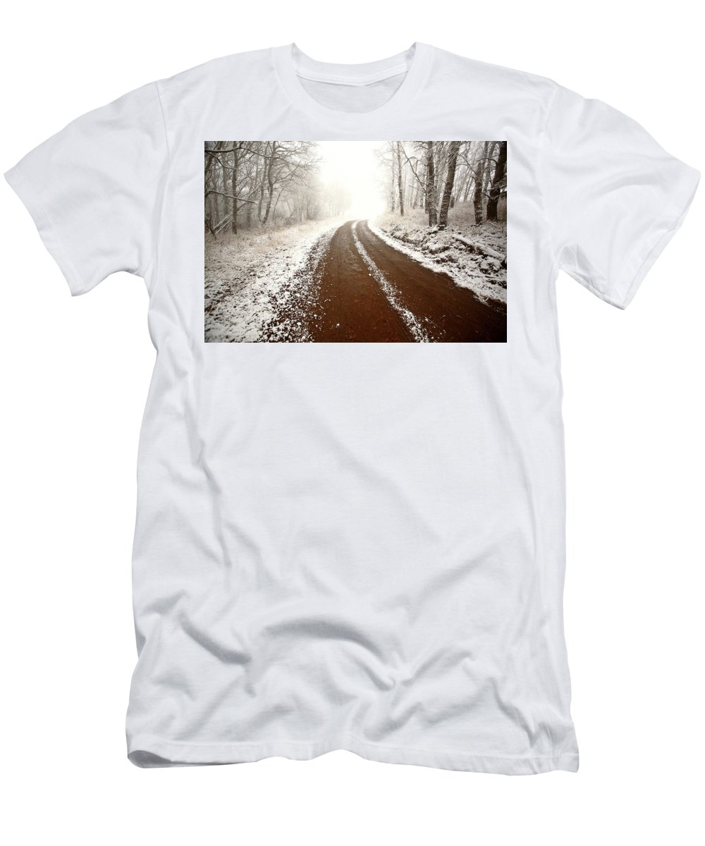 Ice Fog Men's T-Shirt (Athletic Fit) featuring the digital art Ice Fog In Cypress Hills Provincial Park Of Saskatchewan by Mark Duffy