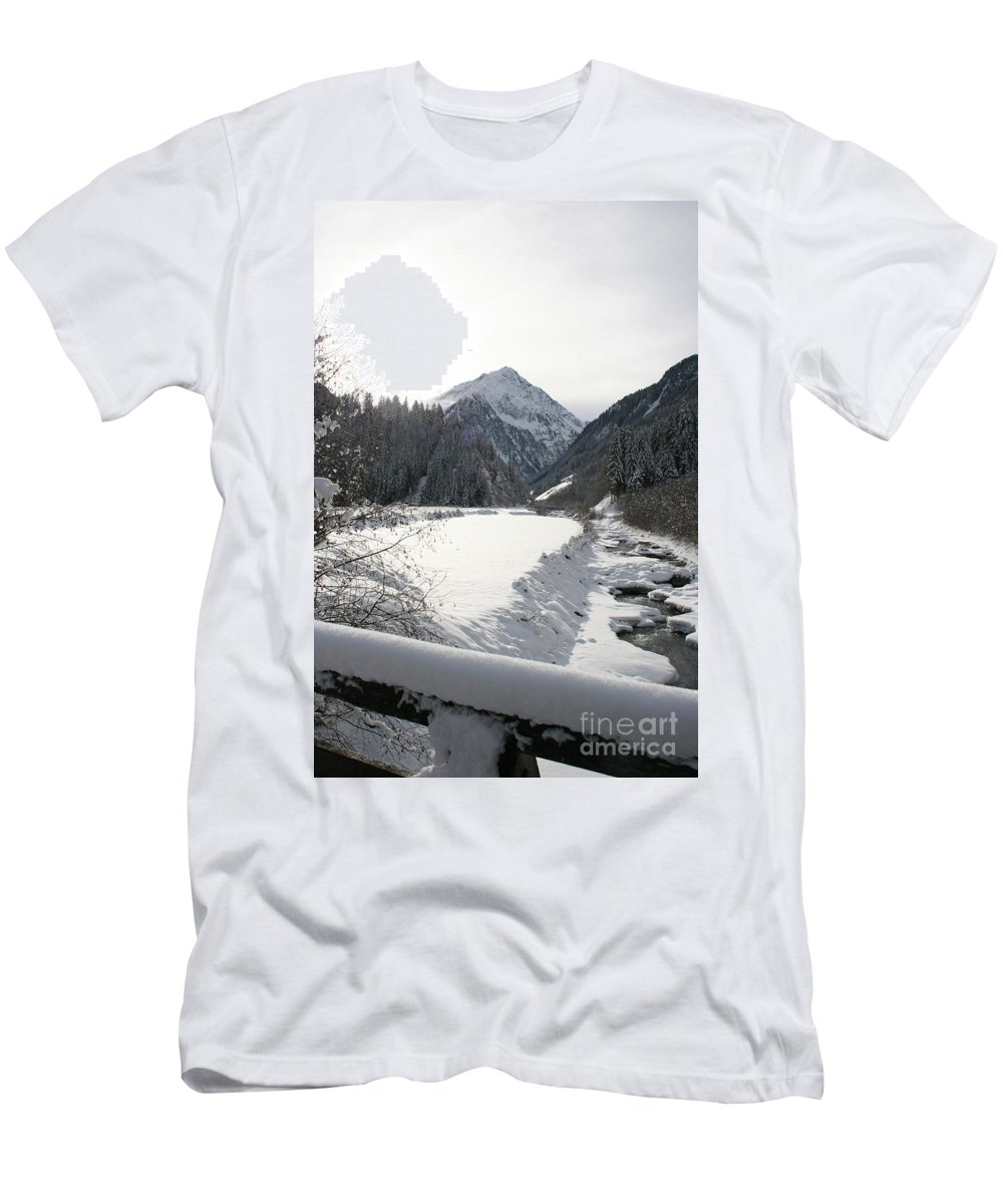 River Men's T-Shirt (Athletic Fit) featuring the photograph Iced River by Christiane Schulze Art And Photography