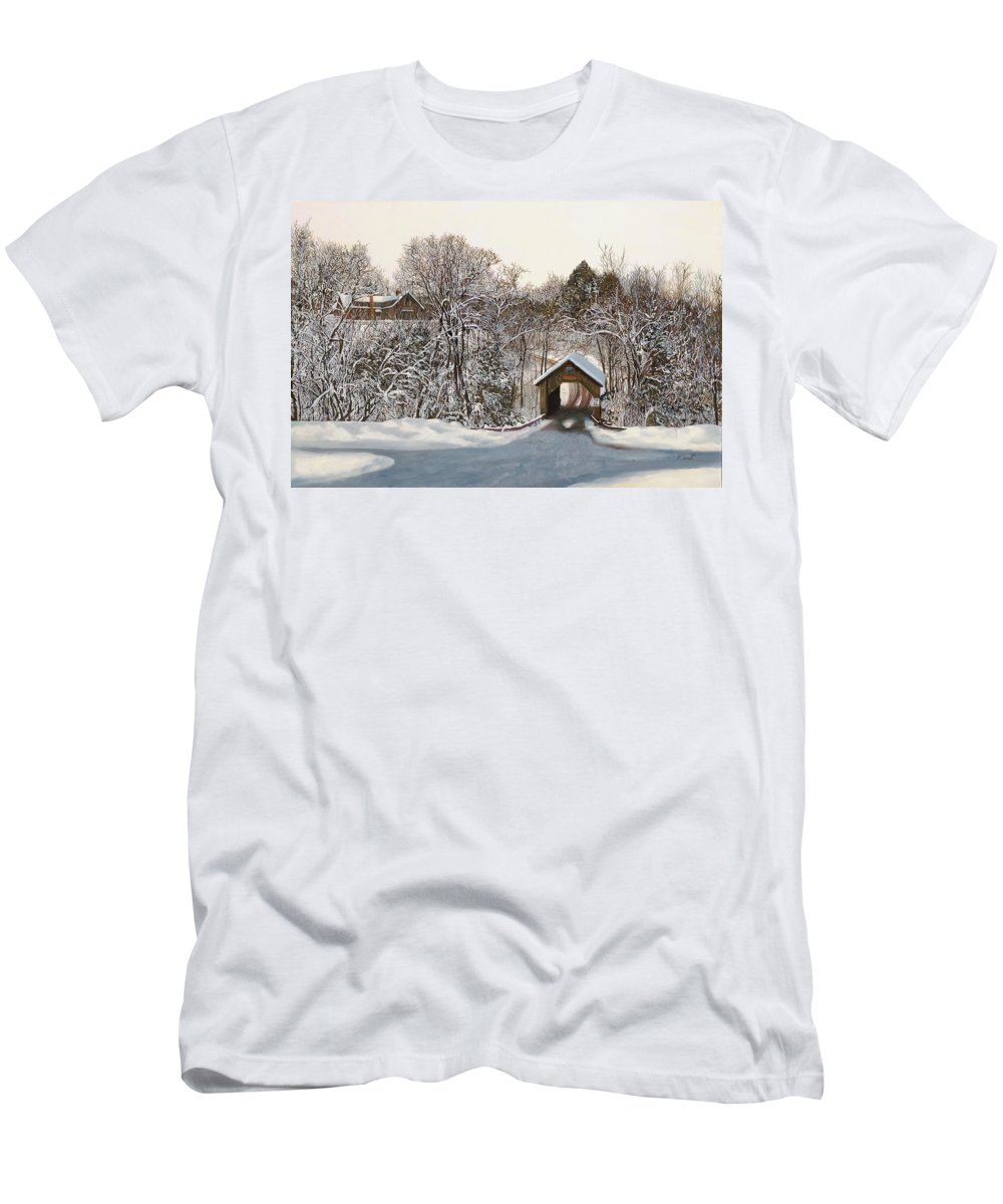 Stowe Men's T-Shirt (Athletic Fit) featuring the painting Il Ponte Coperto Di Legno by Guido Borelli