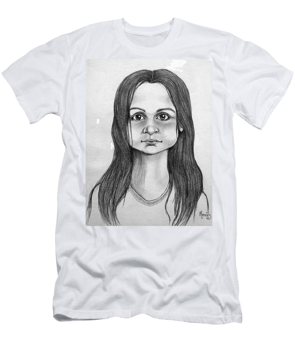 Portrait T-Shirt featuring the drawing Immigrant Girl by Marco Morales