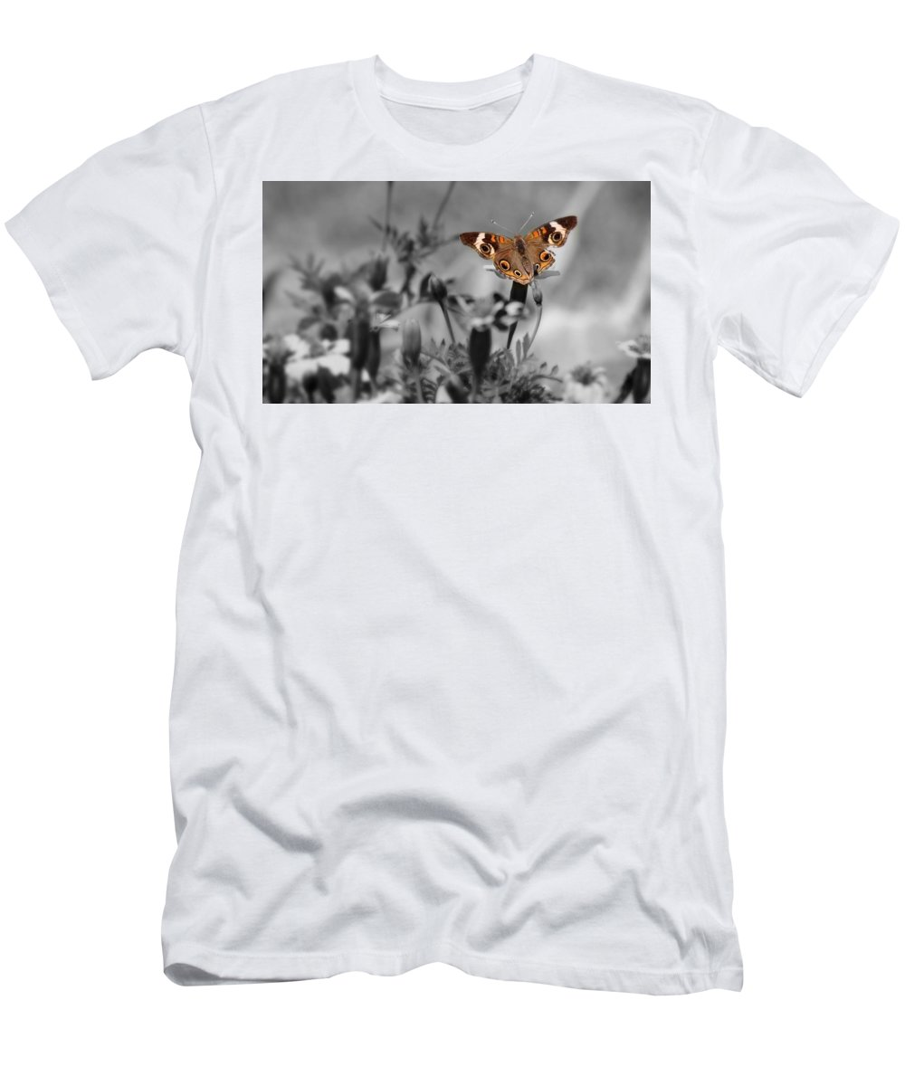 Butterfly Men's T-Shirt (Athletic Fit) featuring the photograph In A World Of Darkness by Teresa Self