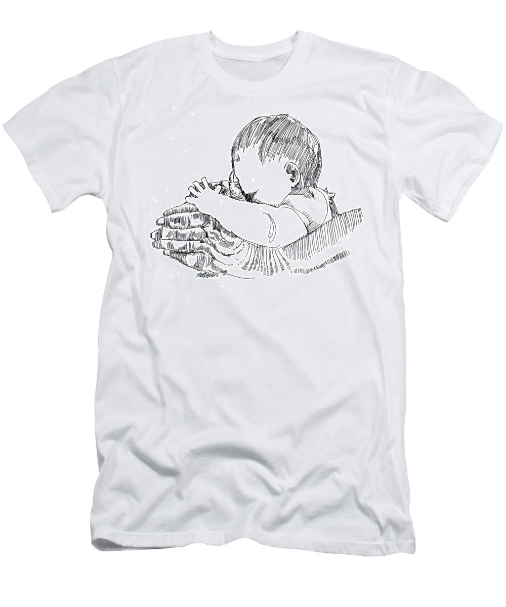 Ink Drawing Men's T-Shirt (Athletic Fit) featuring the drawing In His Hands by Seth Weaver