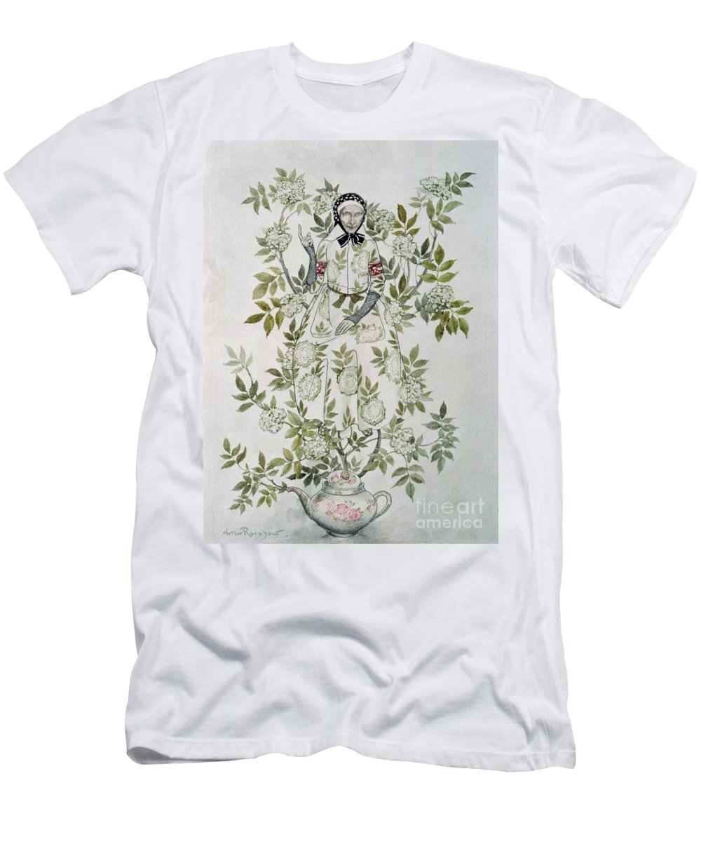 'in The Midst Of A Tree Sat A Kindly-looking Old Woman' Men's T-Shirt (Athletic Fit) featuring the drawing In The Midst Of A Tree Sat A Kindly Looking Old Woman' by Arthur Rackham