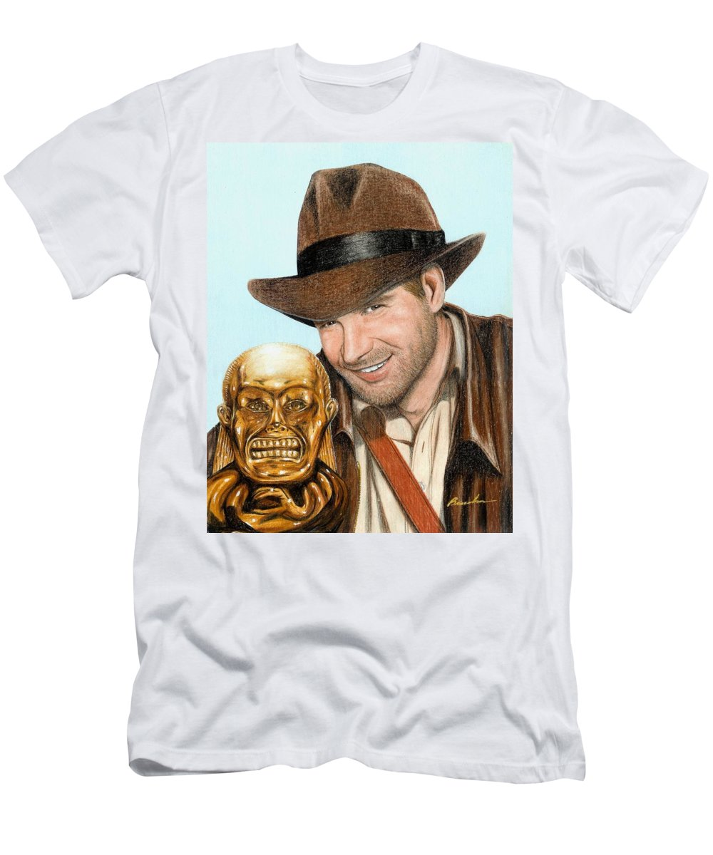 Raiders Of The Lost Ark Indiana Jones Bruce Lennon Art Harrison Ford Men's T-Shirt (Athletic Fit) featuring the painting Indy by Bruce Lennon