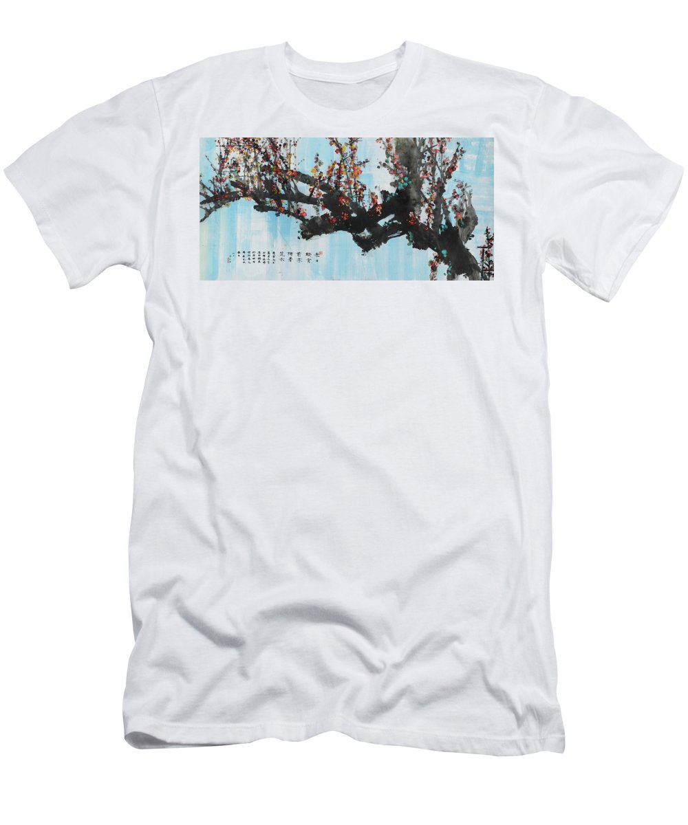 Huang Yongyu Men's T-Shirt (Athletic Fit) featuring the painting Ink Painting Plum Blossom Blue by Huang Yongyu