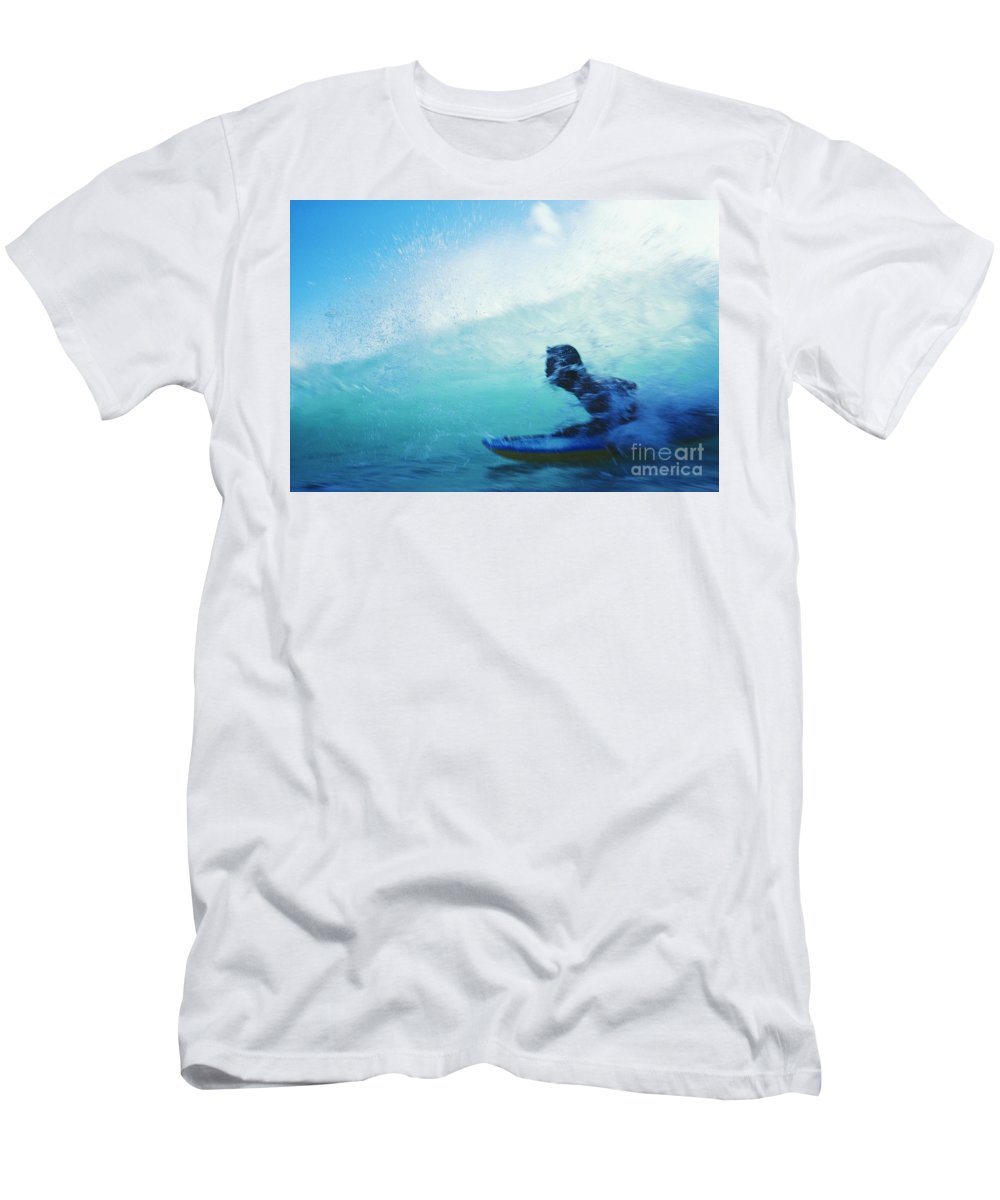 Adrenaline Men's T-Shirt (Athletic Fit) featuring the photograph Inside The Wave by Bob Abraham - Printscapes