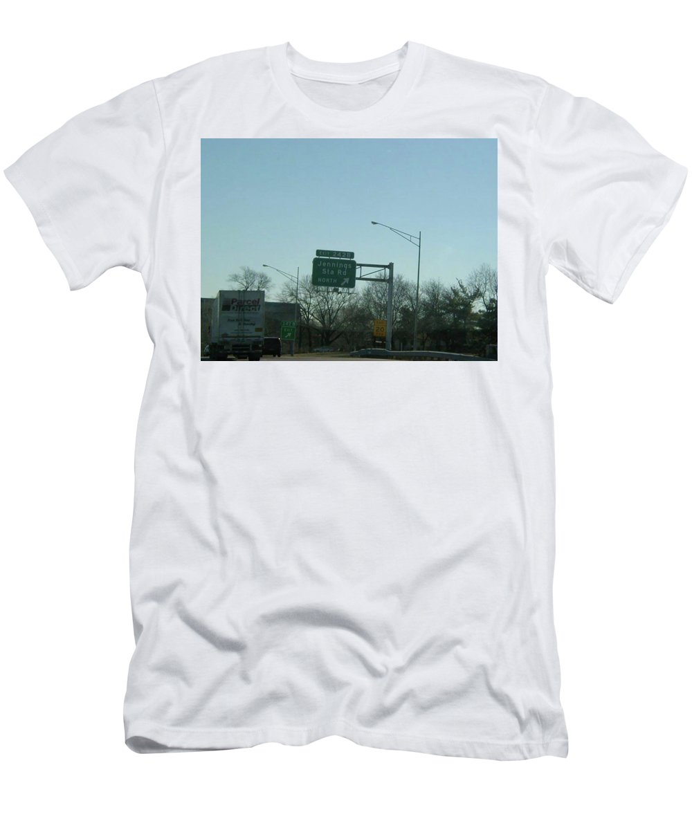 St. Louis Men's T-Shirt (Athletic Fit) featuring the photograph Interstate 70 East At Exit 242b, Jennings Sta. Rd North Exit, 1999 by Dwayne
