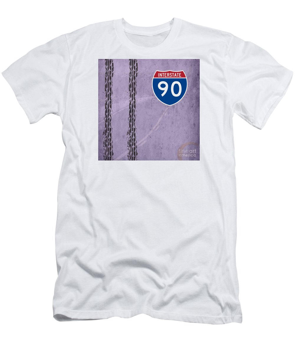 Route Men's T-Shirt (Athletic Fit) featuring the digital art Interstate 90 by Drawspots Illustrations