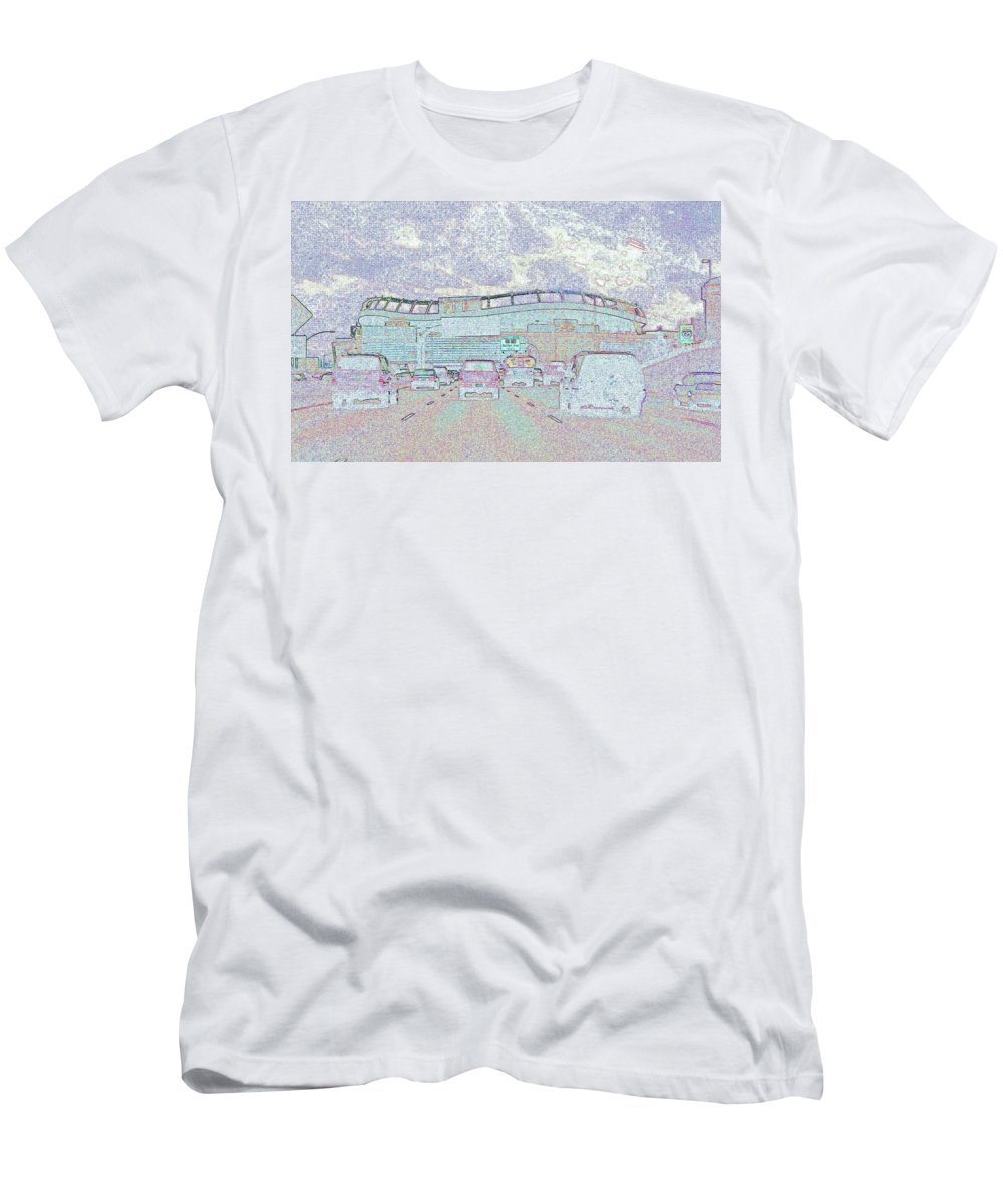Abstract Men's T-Shirt (Athletic Fit) featuring the photograph Invesco Field by Lenore Senior