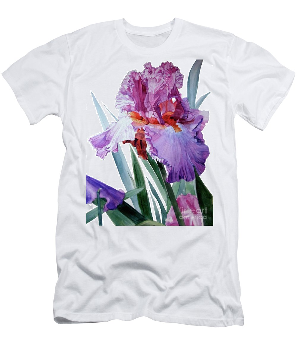 Watercolor Men's T-Shirt (Athletic Fit) featuring the painting Watercolor Of A Tall Bearded Iris In Pink, Lilac And Red I Call Iris Pavarotti by Greta Corens