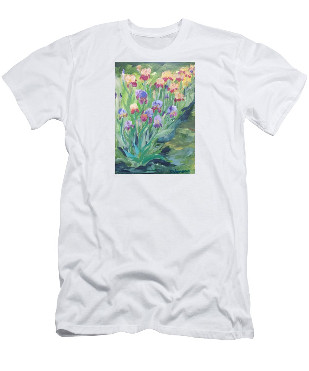 Iris Men's T-Shirt (Athletic Fit) featuring the painting Iris Spring by Cheryl LaBahn Simeone