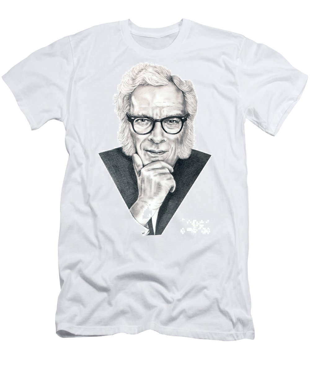 Portrait Men's T-Shirt (Athletic Fit) featuring the drawing Isaac Asimov by Murphy Elliott