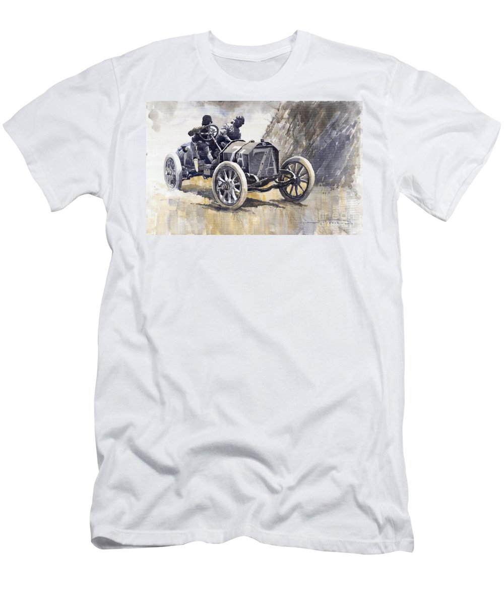 Watercolour Men's T-Shirt (Athletic Fit) featuring the painting Isotta Fraschini 50hp 1908 Targa Florio by Yuriy Shevchuk