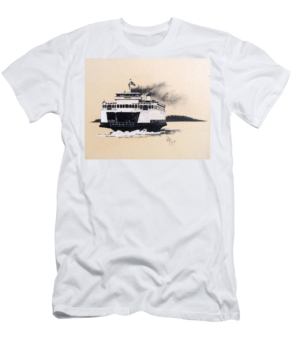Ferry Men's T-Shirt (Athletic Fit) featuring the pastel Issaquah by Gale Cochran-Smith