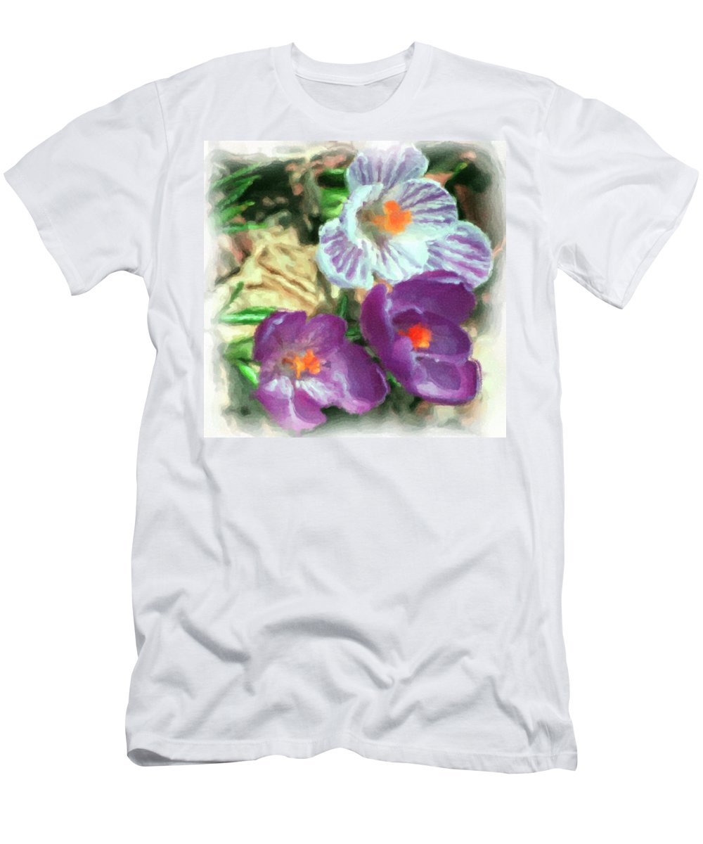 Digital Photography Men's T-Shirt (Athletic Fit) featuring the photograph Ist Flowers In The Garden 2010 by David Lane
