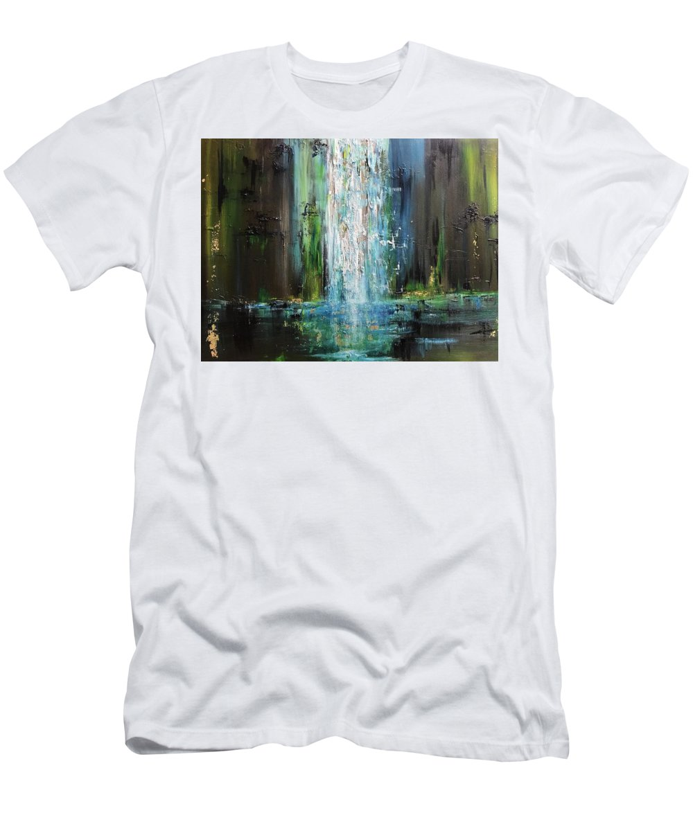 Water Men's T-Shirt (Athletic Fit) featuring the painting It Falls Here by Marilyn Comparetto