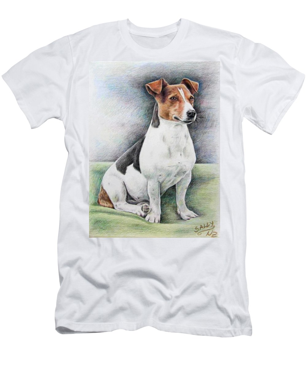 Dog Men's T-Shirt (Athletic Fit) featuring the drawing Jack Russell Terrier by Nicole Zeug