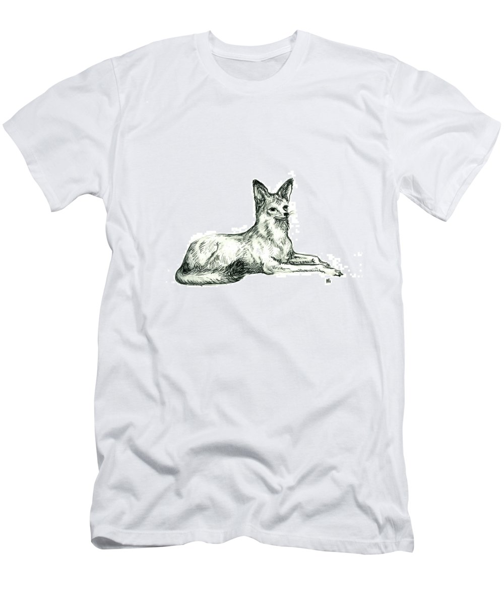 Wild Men's T-Shirt (Athletic Fit) featuring the drawing Jackal Sketch by Shirley Heyn