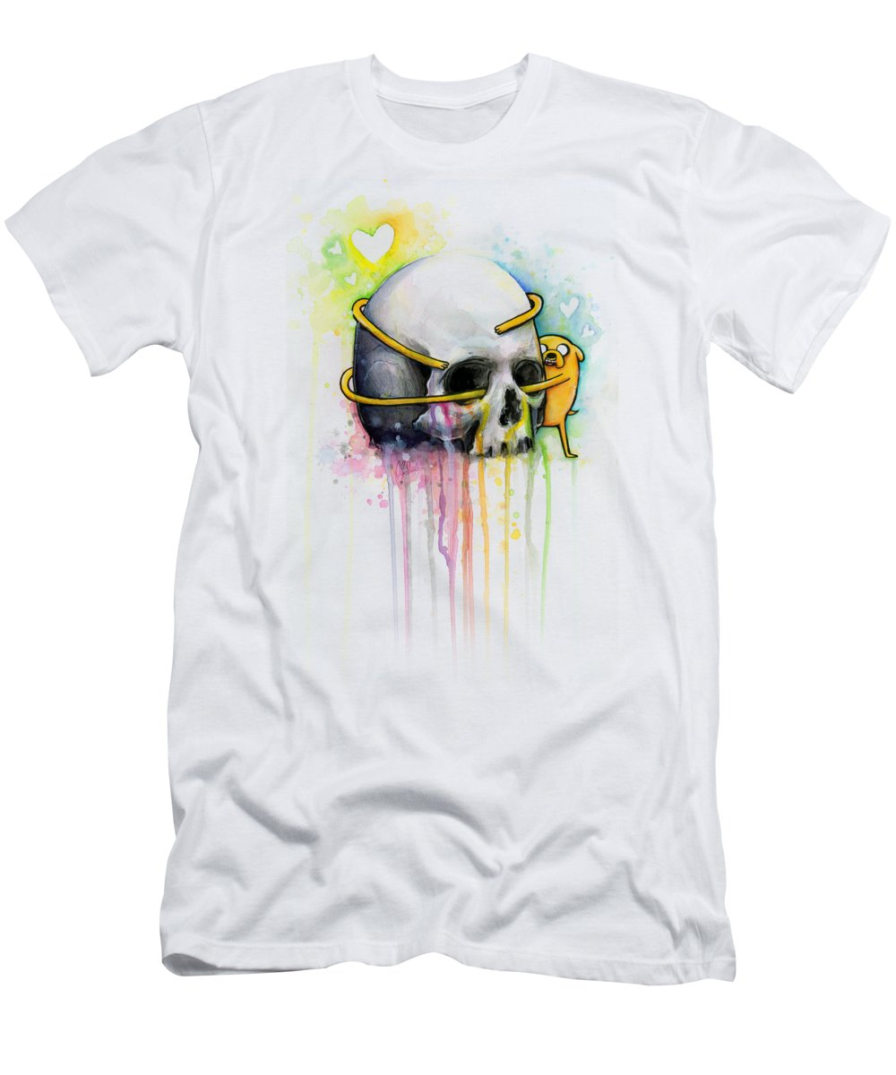 Adventure Time Men's T-Shirt (Athletic Fit) featuring the painting Jake The Dog Hugging Skull Adventure Time Art by Olga Shvartsur