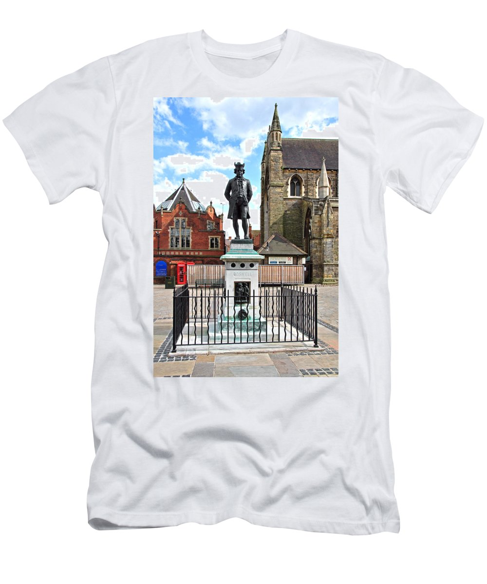 Red Men's T-Shirt (Athletic Fit) featuring the photograph James Boswell Statue - Lichfield by Rod Johnson