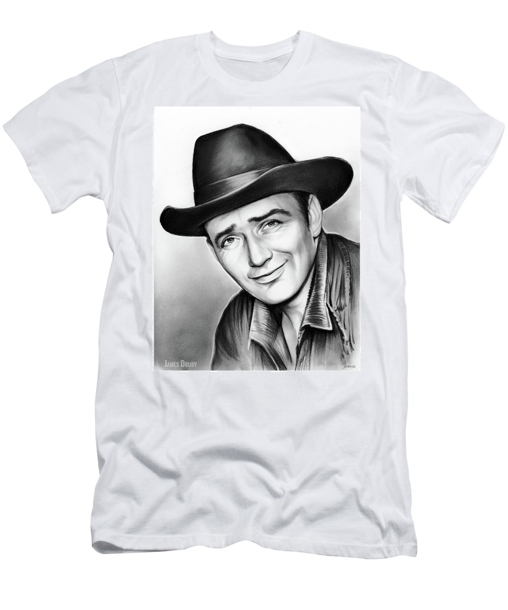 James Drury Men's T-Shirt (Athletic Fit) featuring the drawing James Drury by Greg Joens