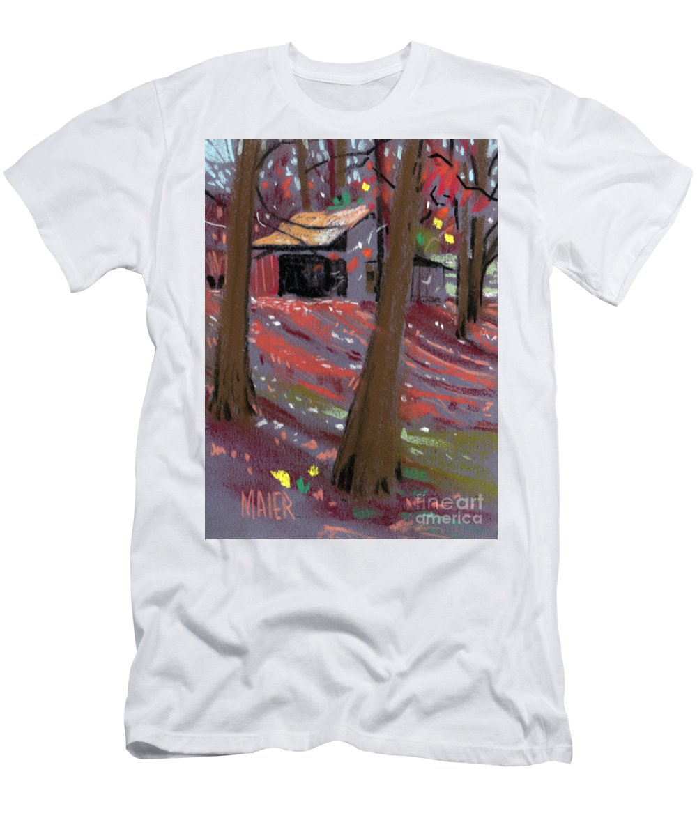 Barns Men's T-Shirt (Athletic Fit) featuring the drawing James's Barns 3 by Donald Maier