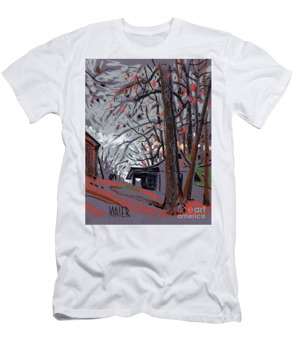 Barns Men's T-Shirt (Athletic Fit) featuring the drawing James's Barns 7 by Donald Maier