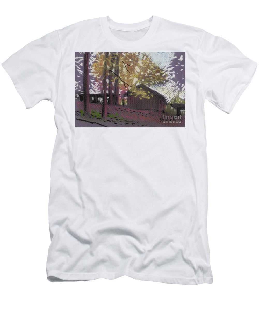 Pastel T-Shirt featuring the drawing James's Barns 9 by Donald Maier