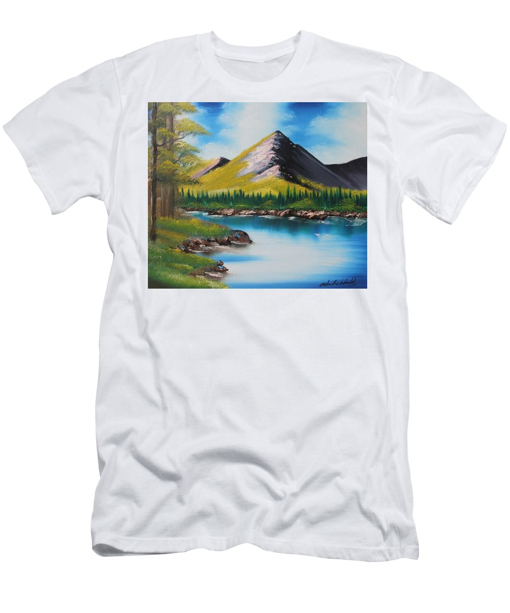 Japan Men's T-Shirt (Athletic Fit) featuring the painting Japanese Landscape by Nadine Westerveld