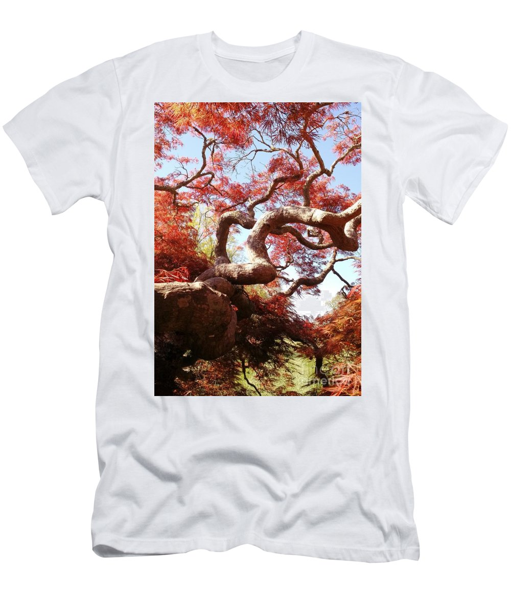 Japanese Maple Tree Men's T-Shirt (Athletic Fit) featuring the photograph Japanese Maple Tree In Spring by Anita Adams
