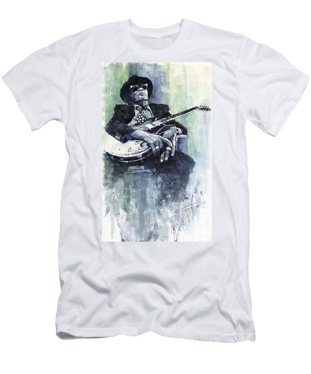 Jazz T-Shirt featuring the painting Jazz Bluesman John Lee Hooker 04 by Yuriy Shevchuk
