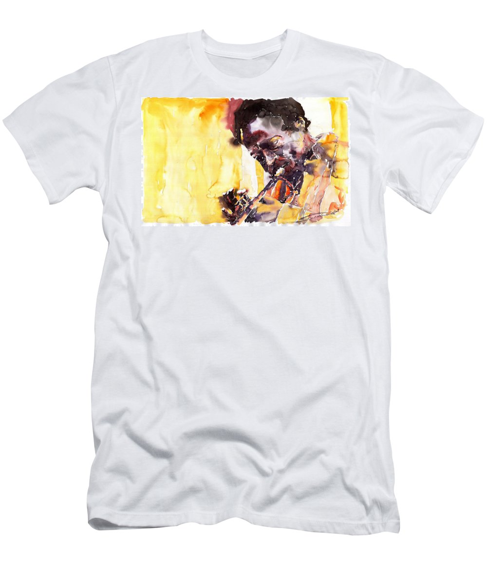 Jazz Music Watercolor Watercolour Miles Davis Trumpeter Portret Men's T-Shirt (Athletic Fit) featuring the painting Jazz Miles Davis 6 by Yuriy Shevchuk