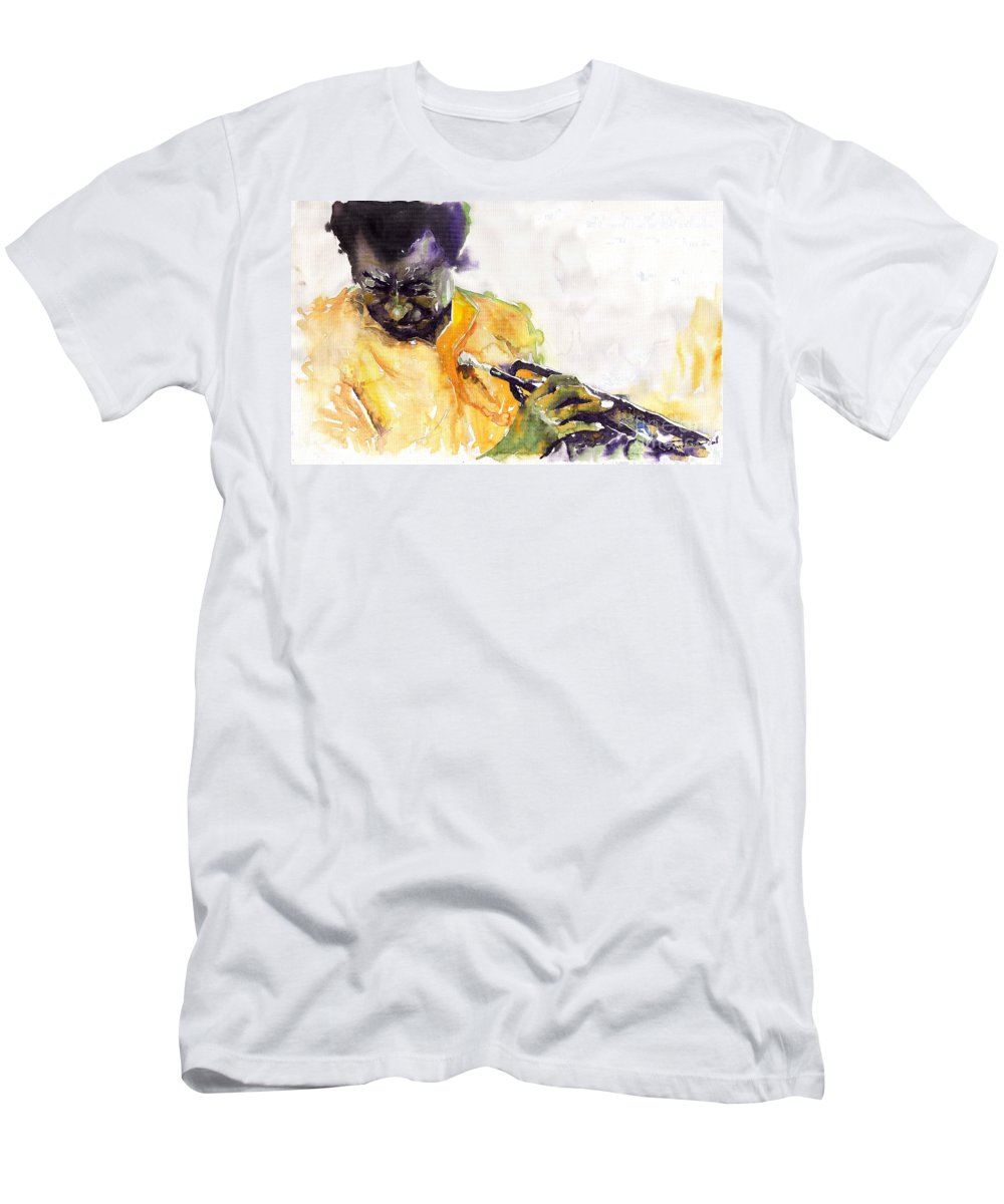 Davis Figurativ Jazz Miles Music Portret Trumpeter Watercolor Watercolour Men's T-Shirt (Athletic Fit) featuring the painting Jazz Miles Davis 7 by Yuriy Shevchuk
