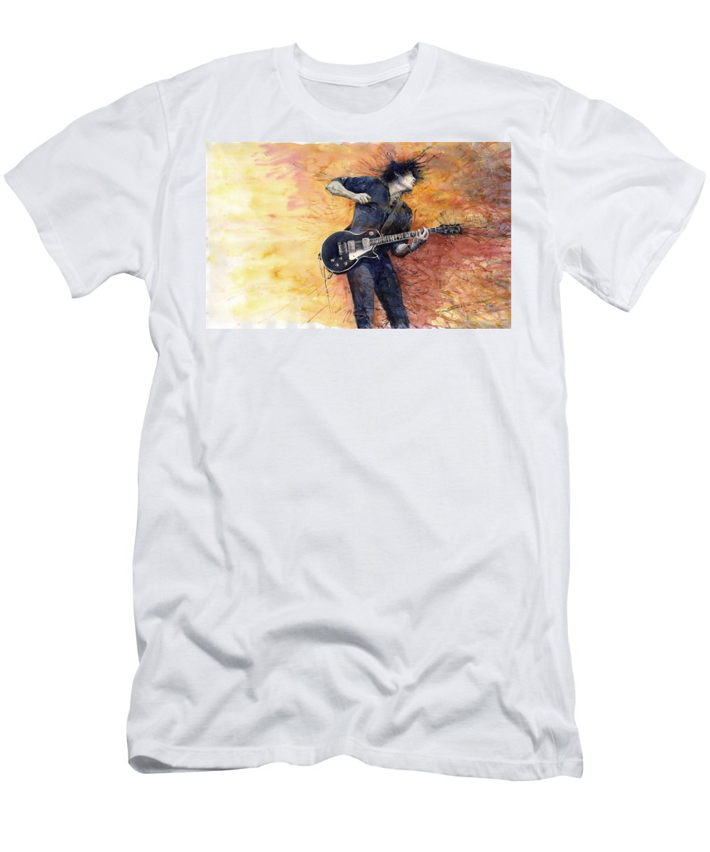 Figurativ Men's T-Shirt (Athletic Fit) featuring the painting Jazz Rock Guitarist Stone Temple Pilots by Yuriy Shevchuk