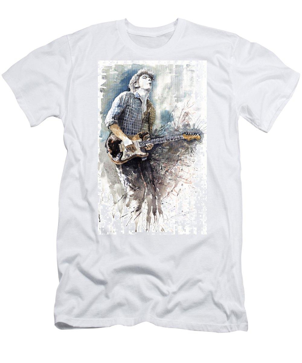 Jazz Men's T-Shirt (Athletic Fit) featuring the painting Jazz Rock John Mayer 05 by Yuriy Shevchuk