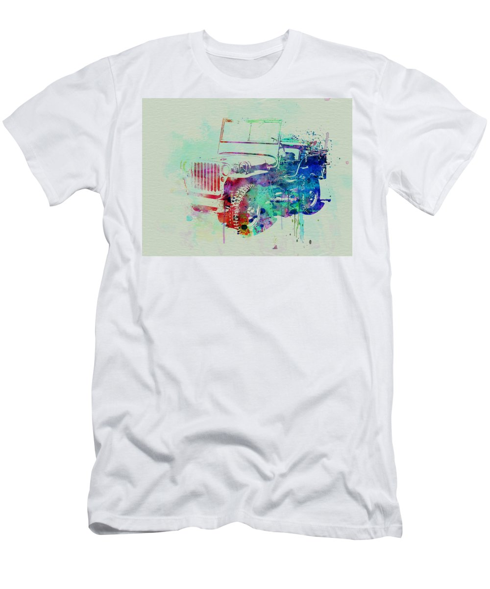 Willis T-Shirt featuring the painting Jeep Willis by Naxart Studio