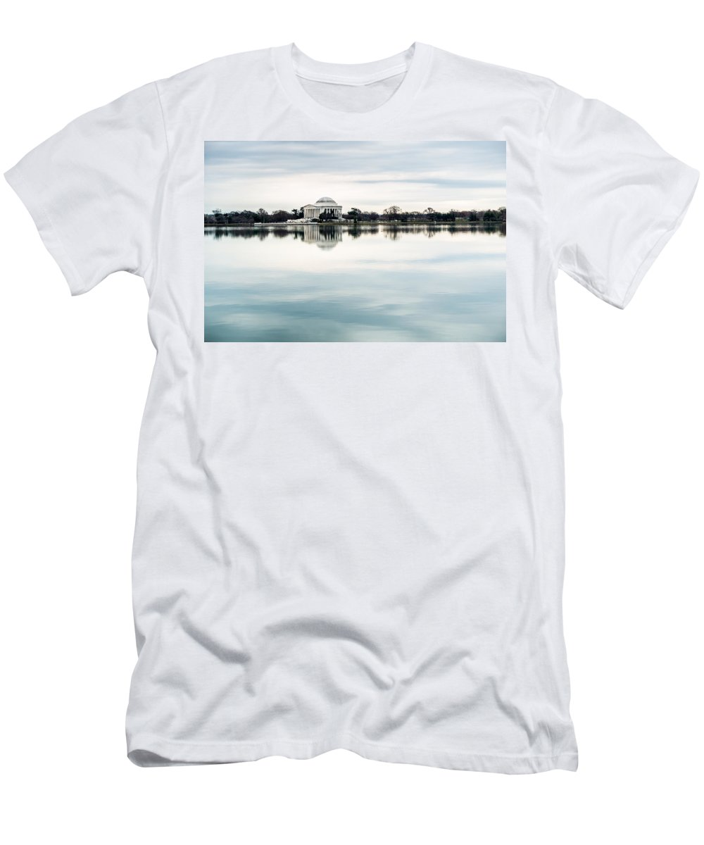 Jefferson Memorial Men's T-Shirt (Athletic Fit) featuring the photograph Jefferson Memorial And Tidal Basin by SR Green