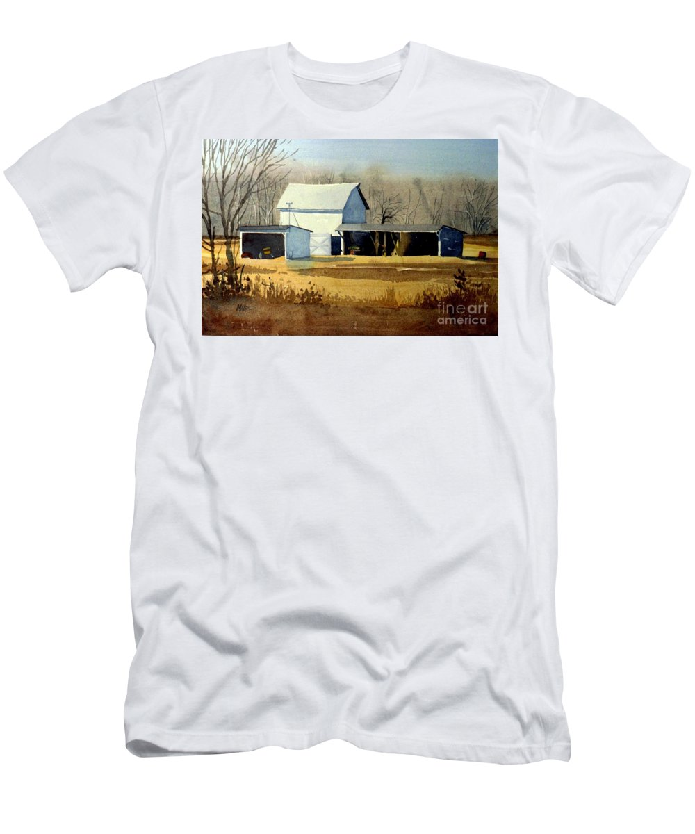 Watercolor Men's T-Shirt (Athletic Fit) featuring the painting Jersey Farm by Donald Maier