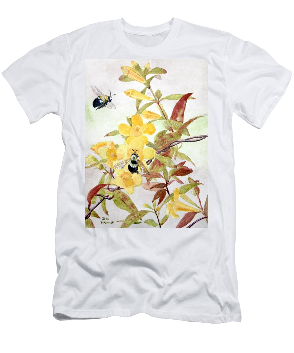 Jasmine Men's T-Shirt (Athletic Fit) featuring the painting Jessamine Bee Mine by Jean Blackmer