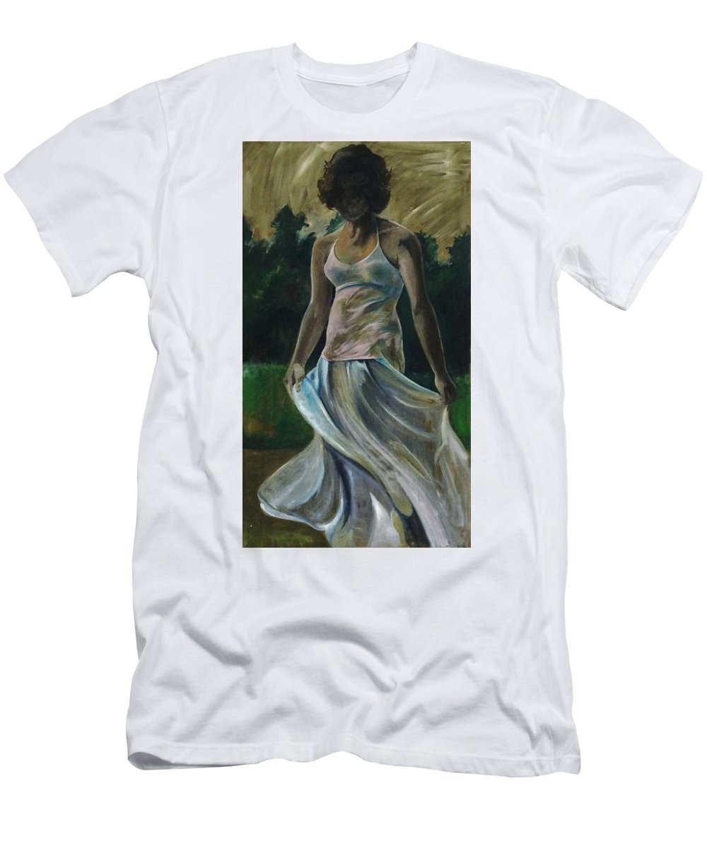 Female Men's T-Shirt (Athletic Fit) featuring the painting Jessica by Idie Karr