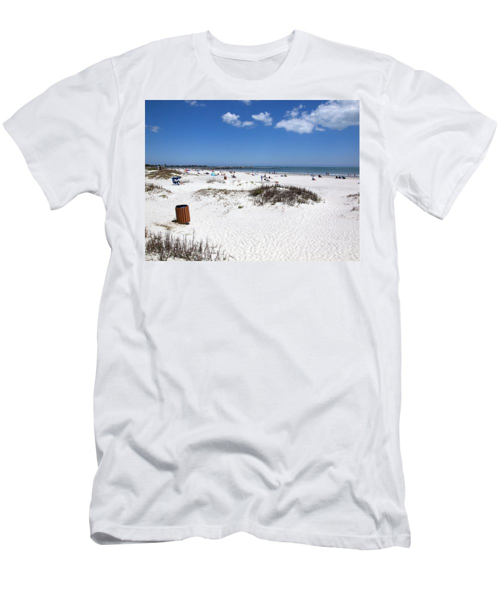 Florida Men's T-Shirt (Athletic Fit) featuring the photograph Jetty Park At Cape Canaveral In Florida Usa by Allan Hughes