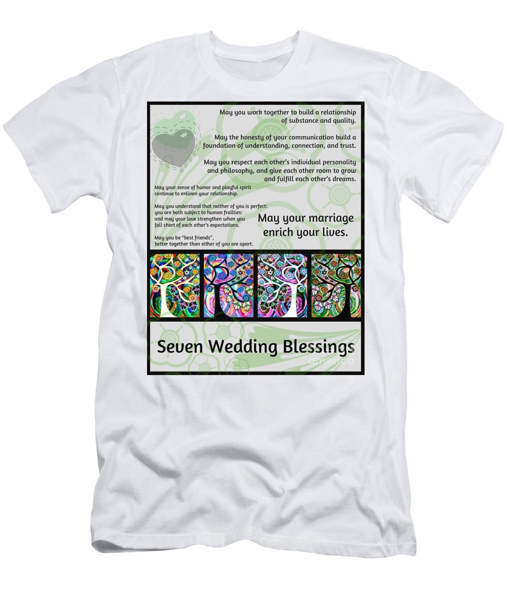 Jewish Men's T-Shirt (Athletic Fit) featuring the painting Jewish Seven Wedding Blessings Tree Of Life Hamsas by Sandra Silberzweig
