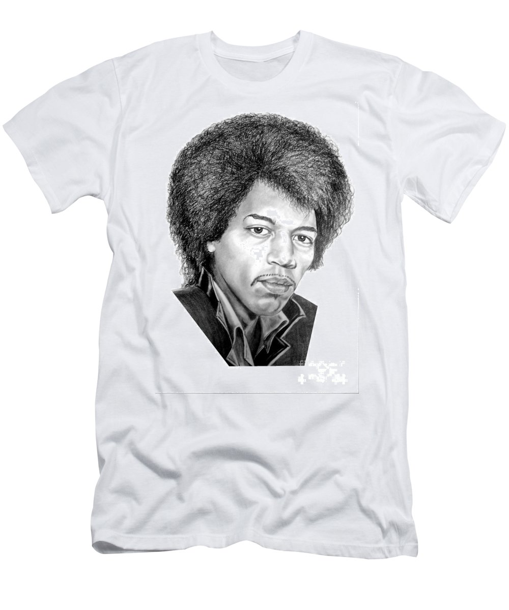 Jimmi Hendrix Men's T-Shirt (Athletic Fit) featuring the drawing Jimmi Hendrix By Murphy Art. Elliott by Murphy Elliott