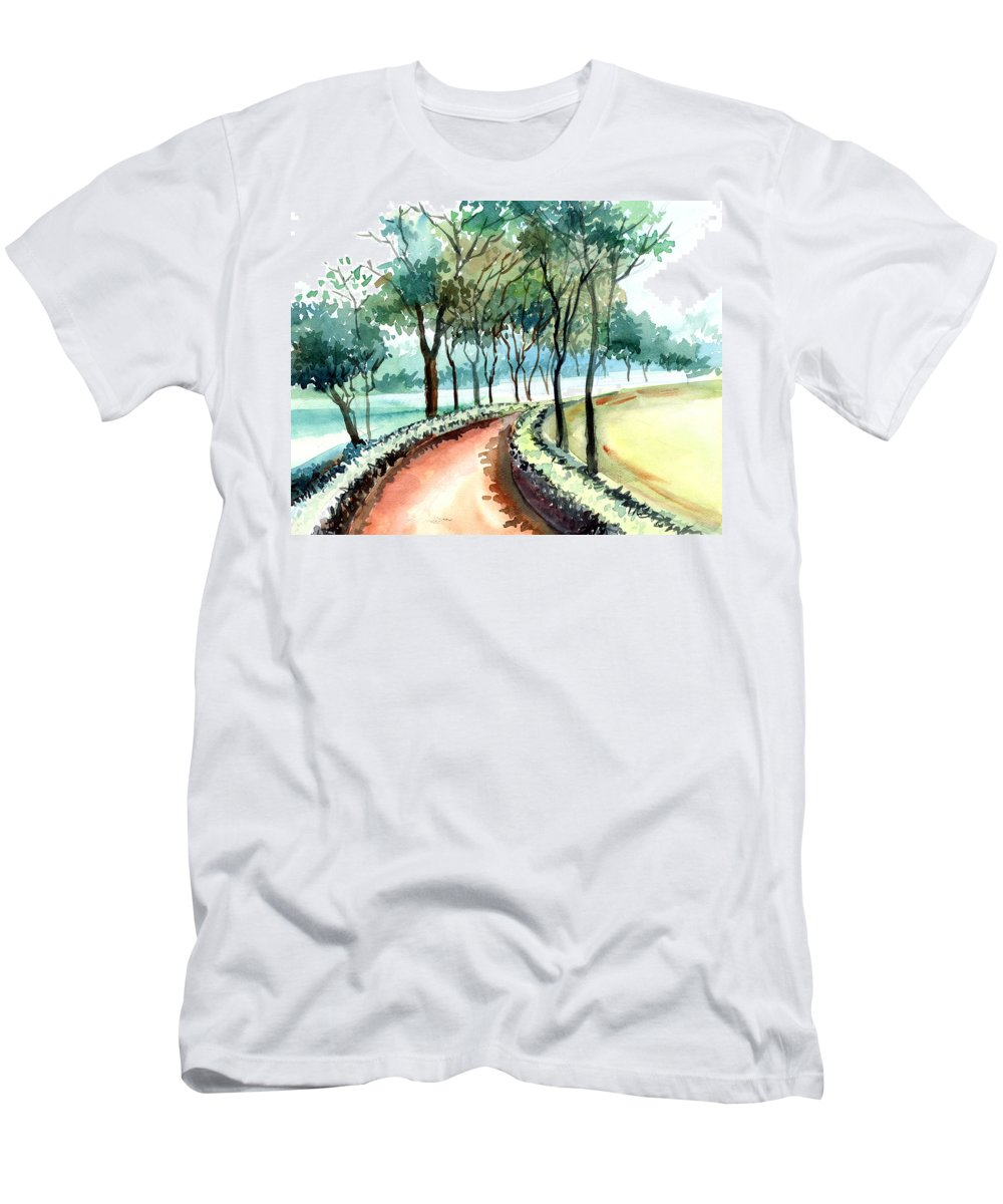 Landscape Men's T-Shirt (Athletic Fit) featuring the painting Jogging Track by Anil Nene