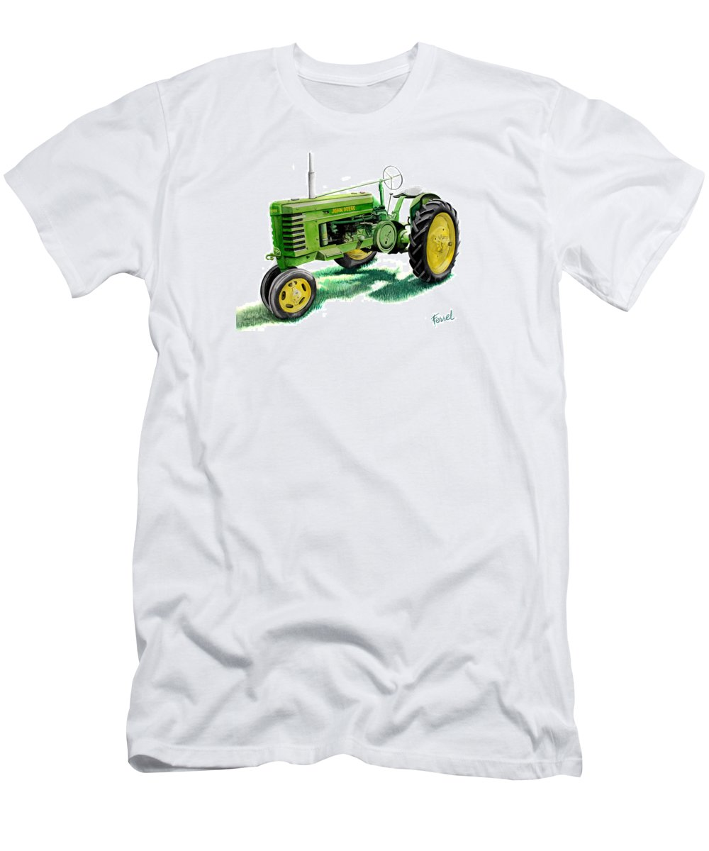 John Deere Tractor Men's T-Shirt (Athletic Fit) featuring the painting John Deere Tractor by Ferrel Cordle
