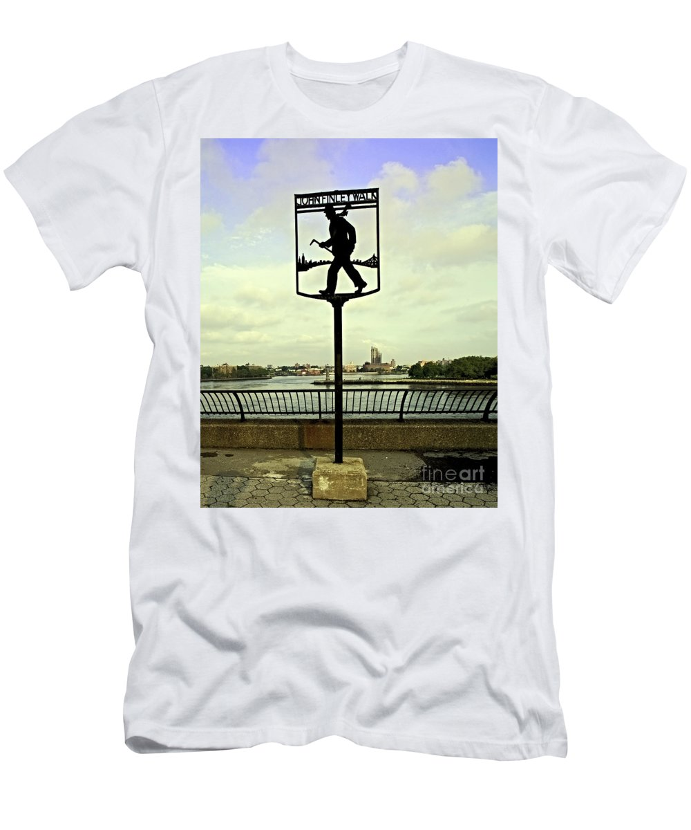 East River Men's T-Shirt (Athletic Fit) featuring the photograph John Finley Walk II by Madeline Ellis