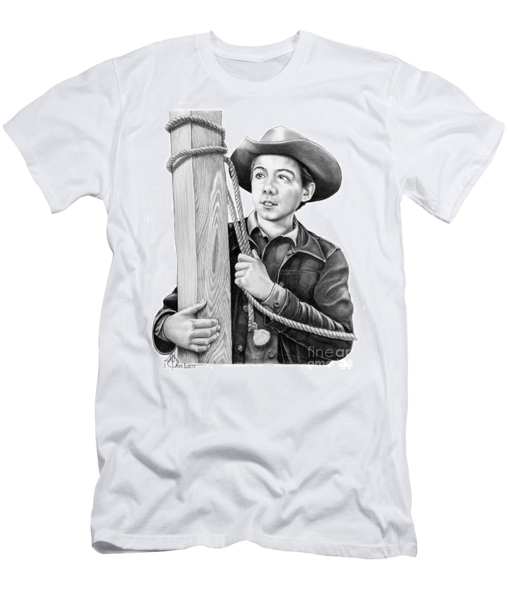 Pencil T-Shirt featuring the drawing Johnny Crawford-Mark McCain by Murphy Elliott