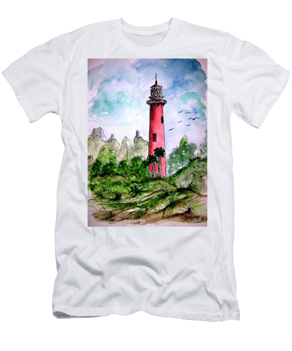 Lighthouse Men's T-Shirt (Athletic Fit) featuring the painting Jupiter Florida Lighthouse by Derek Mccrea