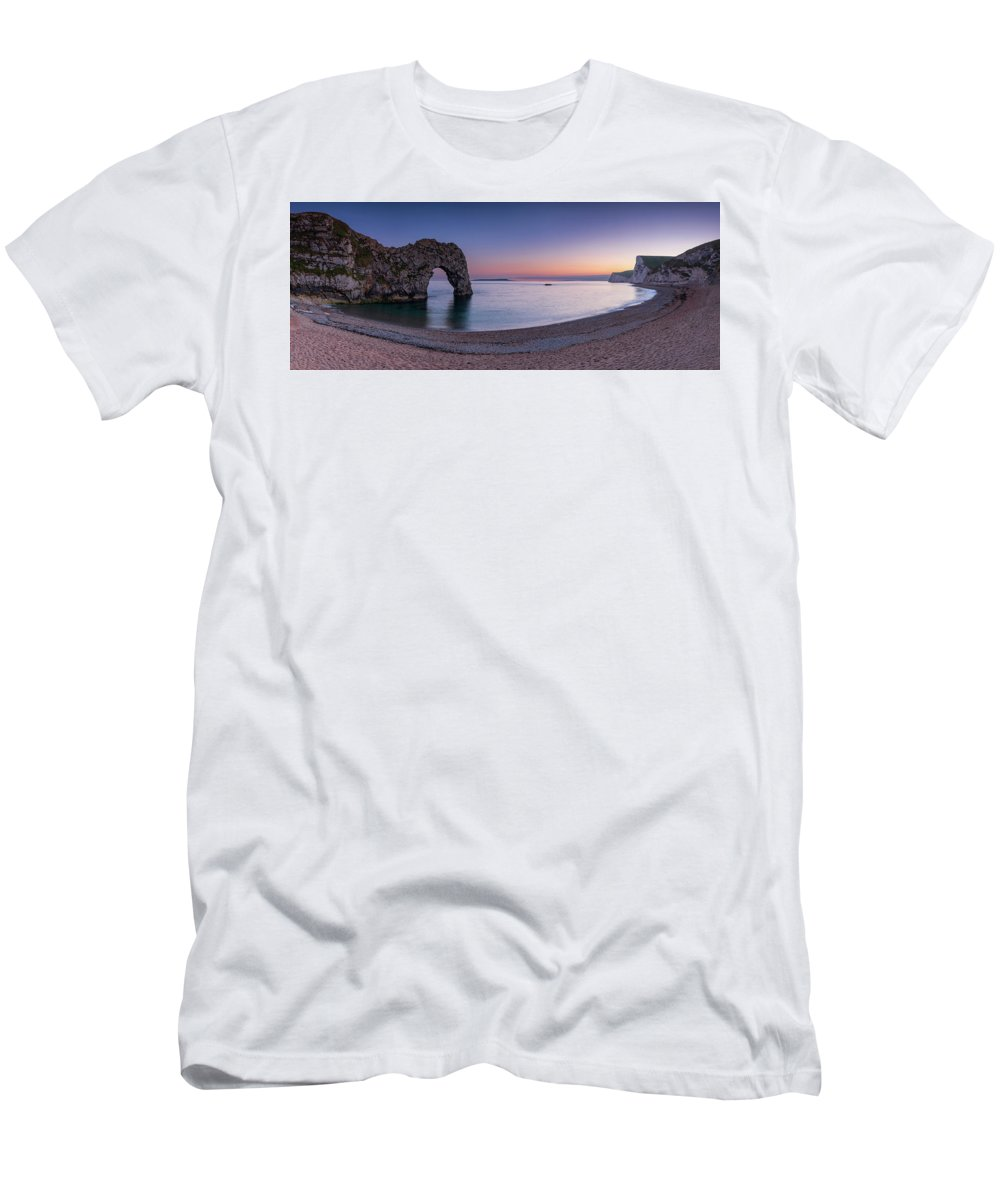 Durdle Door Men's T-Shirt (Athletic Fit) featuring the photograph Jurassic Coast - Panorama by Michael Blanchette